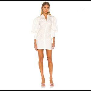 Grant Balloon Sleeve Ruched Dress White Shona Joy